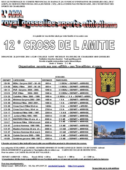 Horaire du cross de Gosselies 2014