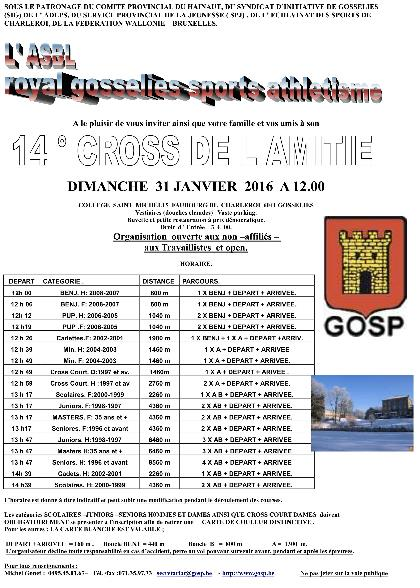 Horaire du cross de Gosselies 2015