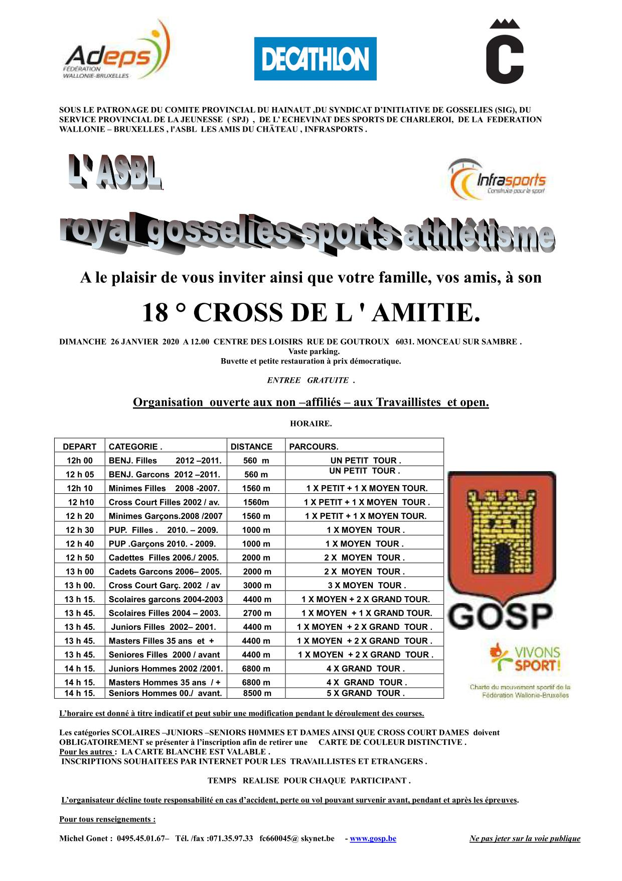 Horaire du cross de Gosselies